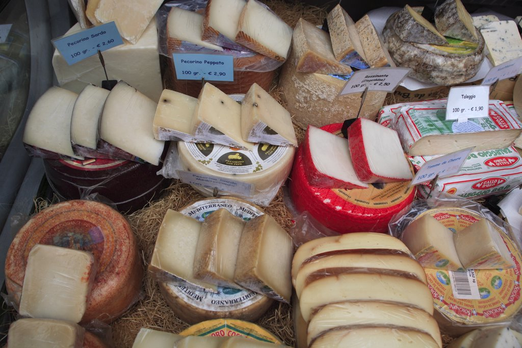Austria, Vienna, Display of cheeses in the Naschmarkt. : Stock Photo