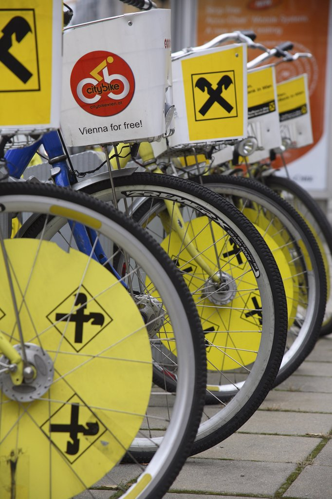 Stock Photo: 1850-33081 Austria, Vienna, Bicycles for public hire.