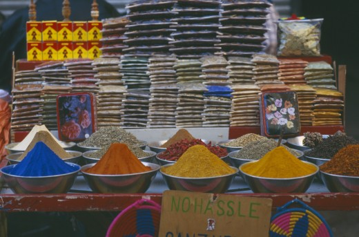 Egypt, Luxor, Colourful Herbs And Spices On Market Stall : Stock Photo
