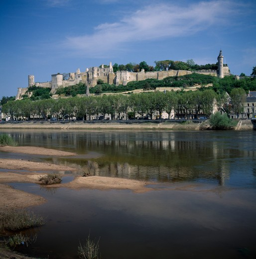 Stock Photo: 1850-3739 France, Loire Valley, Indre Et Loire, Chinon Chateau Seen Across River Viene