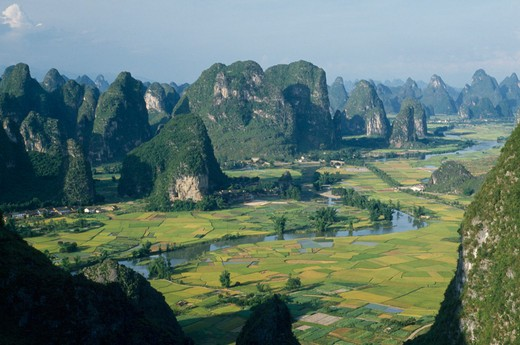 China, Guangxi, Near Guilin , View From Moonhill With Karst Limestone Formations Around The River Valley With Rice Paddies : Stock Photo