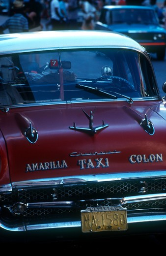 Cuba, Havana, Detail Of 1950 S Us Car Used As A Taxi : Stock Photo