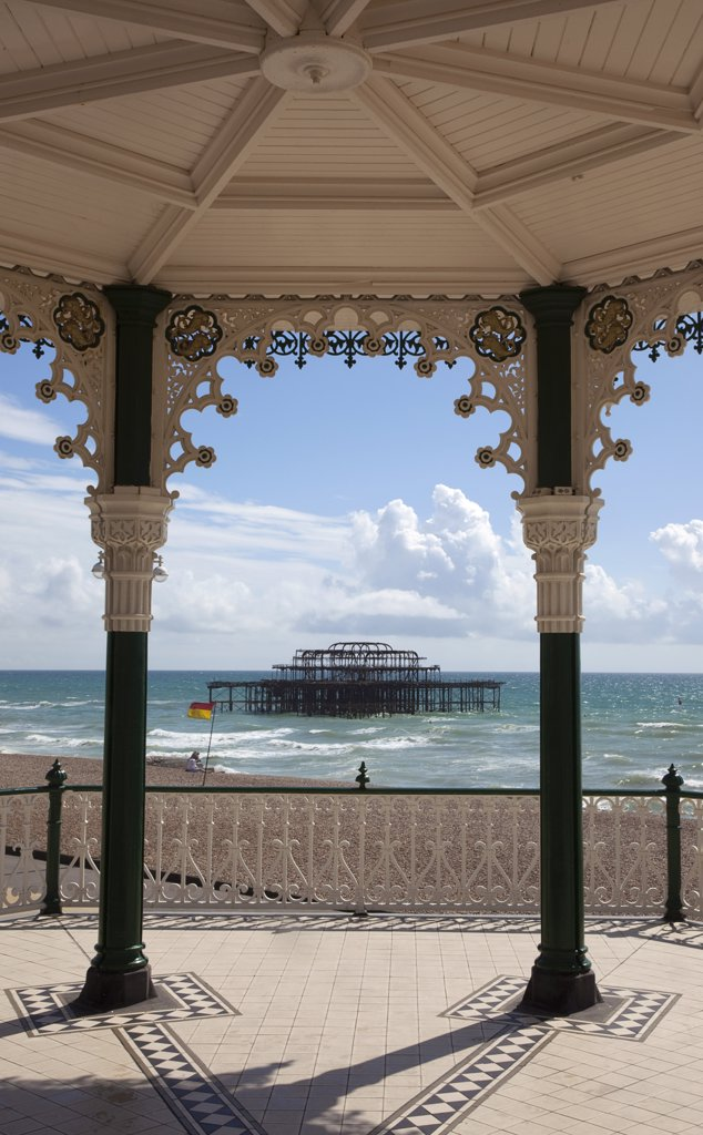 Stock Photo: 1850-44107 England, East Sussex, Brighton, Kings Road Arches restored seafront Victorian bandstand.