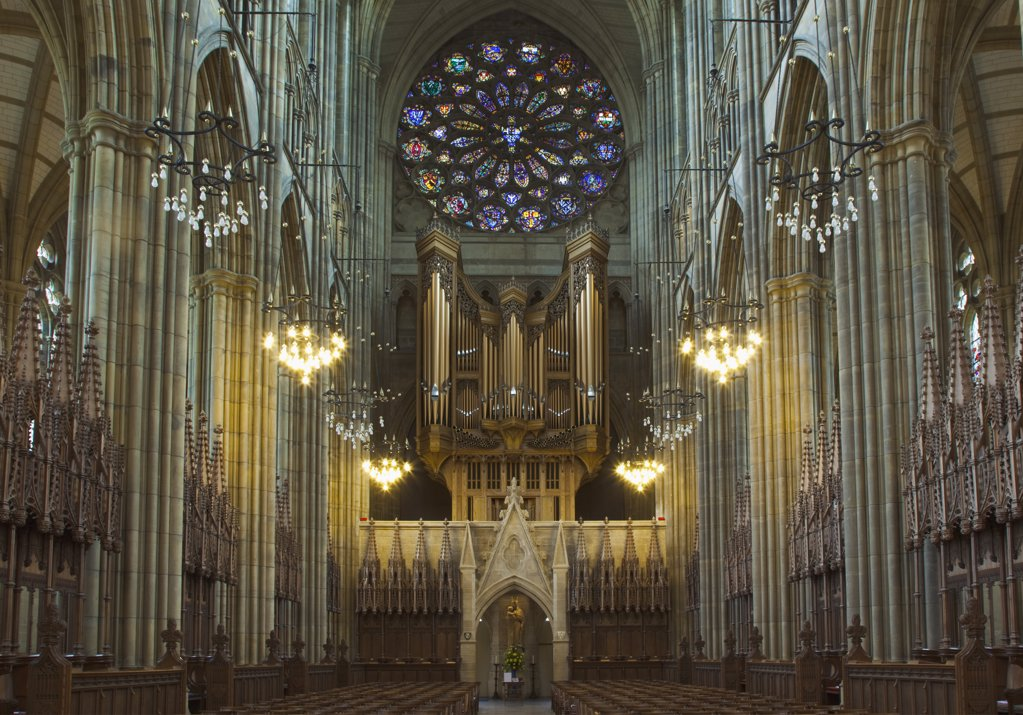 Stock Photo: 1850-44129 England, West Sussex, Shoreham-by-Sea, Lancing College Chapel interior view of the nave.