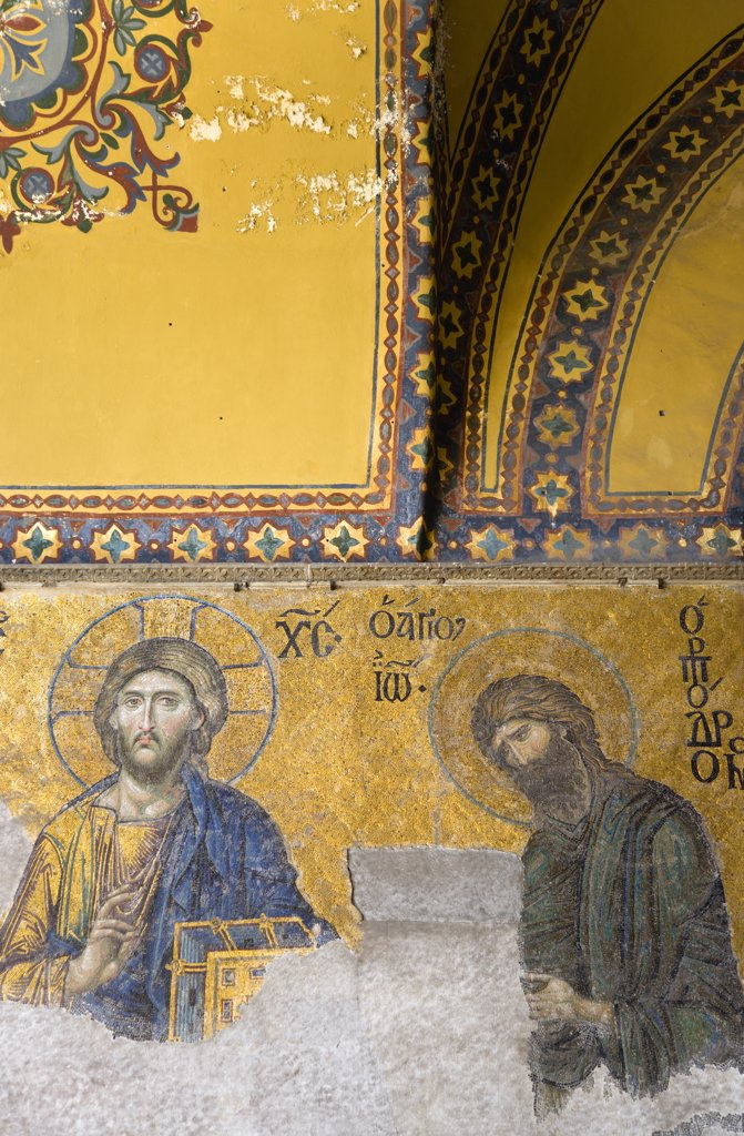 Turkey,  Istanbul, Sultanahmet Haghia Sophia the 13th Century Deesis mosaic of Jesus Christ and St John The Baptist in the South Gallery. : Stock Photo