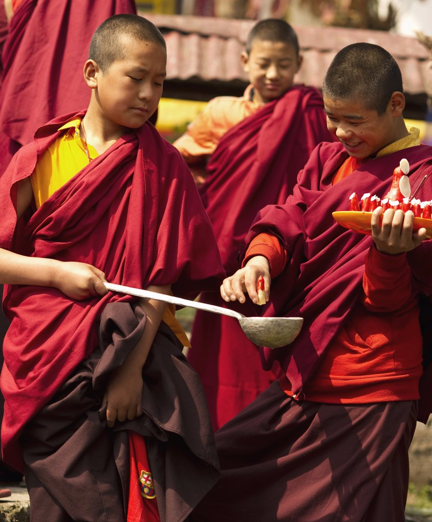 Stock Photo: 1850-44225 India,  Sikkim, Buddhist Monks in a Losar ceremony