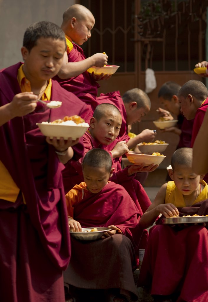 Stock Photo: 1850-44227 India,  Sikkim,  Buddhist Monks at lunch break.