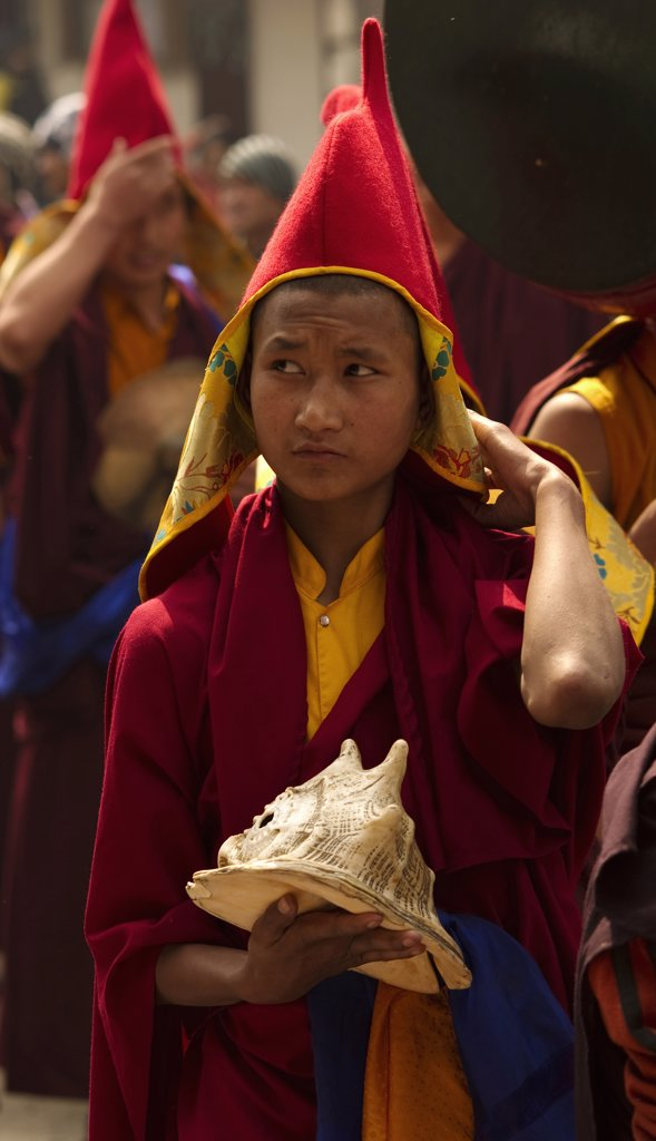 Stock Photo: 1850-44232 India,  Sikkim, Buddhist monk in a Losar ceremonial procession.
