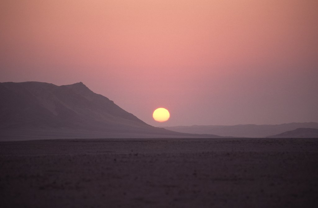 Stock Photo: 1850-44302 Namibia,  Namib Naukluft National Park, Sunset in the Namib Naukluft desert. Access is restricted due to Diamond mining activity by DeBeers.