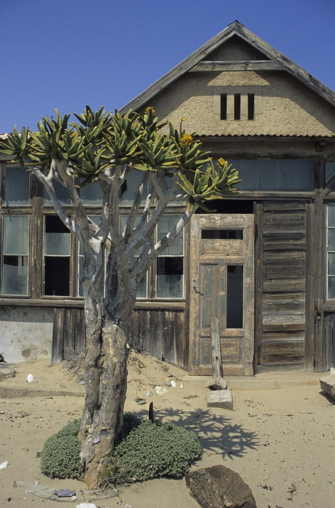 Stock Photo: 1850-44316 Namibia, Namib Desert, Pomona, An abandoned mine workers house in the diamond region of the southern restricted Diamond region.
