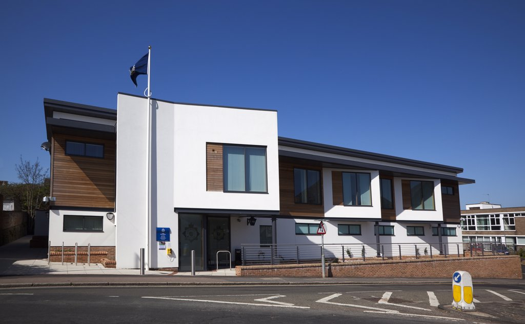 Stock Photo: 1850-44393 England, East Sussex, Lewes, Exterior of the new Police station.