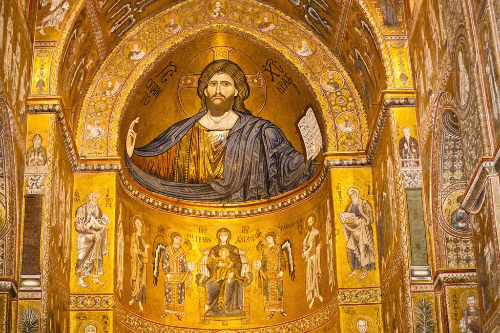 Stock Photo: 1850-44490 Italy, Sicily, Palermo, Monreale Cathedral Jesus Christ mosaic in the apse.