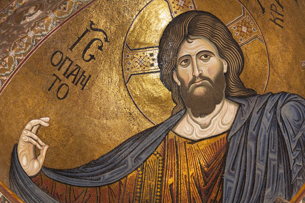 Stock Photo: 1850-44491 Italy, Sicily , Palermo, Monreale Cathedral Jesus Christ mosaic in the apse.