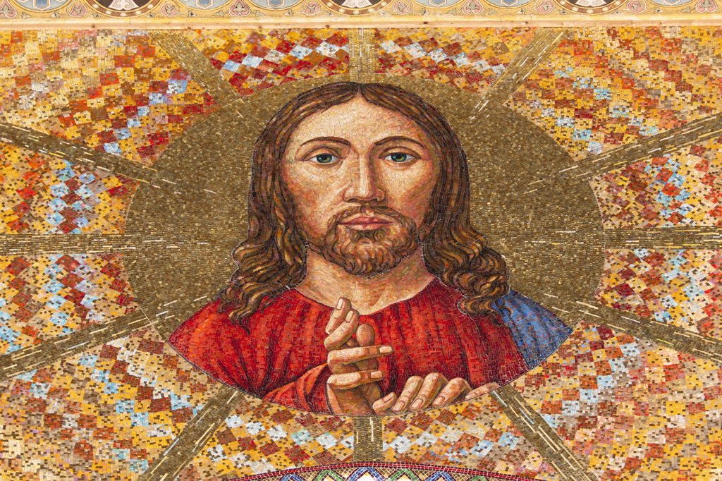 Stock Photo: 1850-44494 Italy , Sicily, Messina, Piazza Del Duomo Jesus Christ mosaic inside Cathedral.