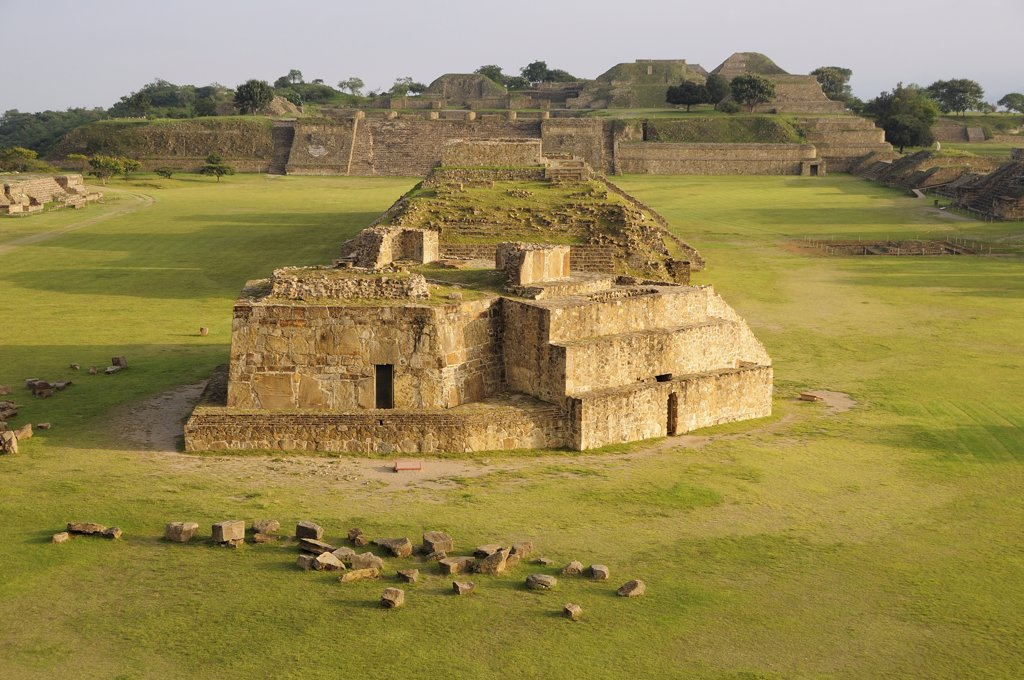 Stock Photo: 1850-44895 Archaeological site Ruins of Monticulo J and Edifio I H and G buildings in the central plaza.Mexico Oaxaca Monte Alban