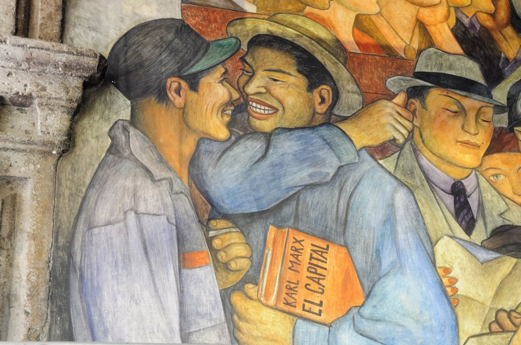 Detail of Mexico a Traves de los Siglos mural by Diego Rivera in the Palacio Nacional.Mexico Federal District Mexico City : Stock Photo