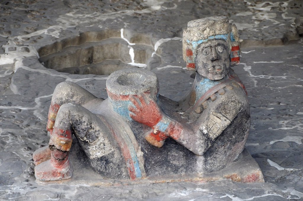 Chac Mool figure at the entrance to Tlaloc Shrine in the Templo Mayor Aztec temple ruins.Mexico Federal District Mexico City : Stock Photo