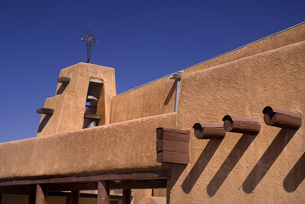 Detail of adobe style architecture.USA New Mexico Taos : Stock Photo