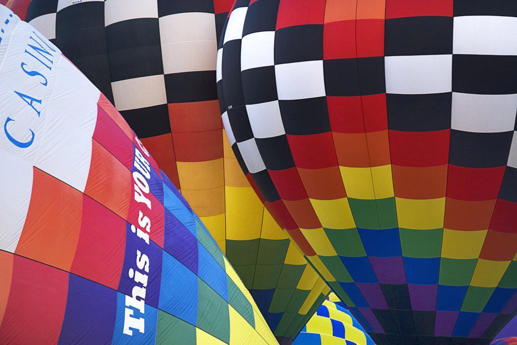 Stock Photo: 1850-44989 Annual balloon fiesta. Colourful hot air balloons.USA New Mexico Albuquerque