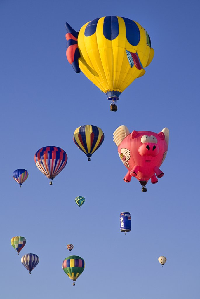 Stock Photo: 1850-44997 Annual balloon fiesta. Colourful hot air balloons.USA New Mexico Albuquerque