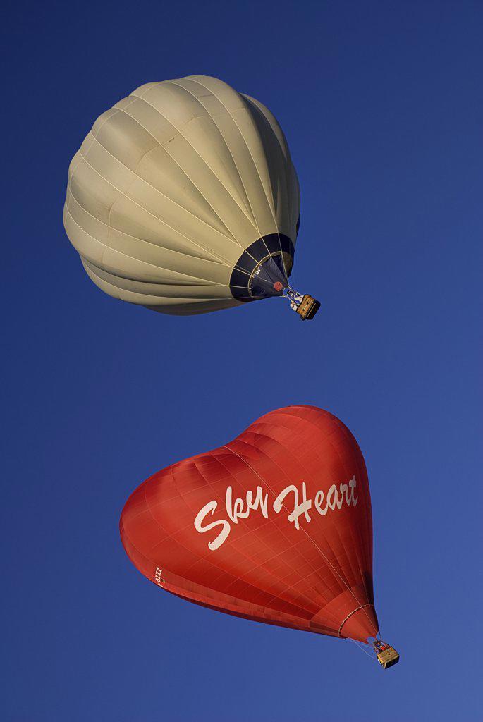 Stock Photo: 1850-45005 Annual balloon fiesta colourful hot air balloons. , USA New Mexico Albuquerque