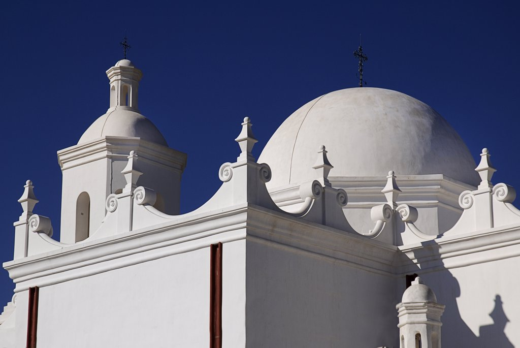 Stock Photo: 1850-45054 Mission Church of San Xavier del Bac. Exterior detail of white painted roof.USA Arizona Tucson