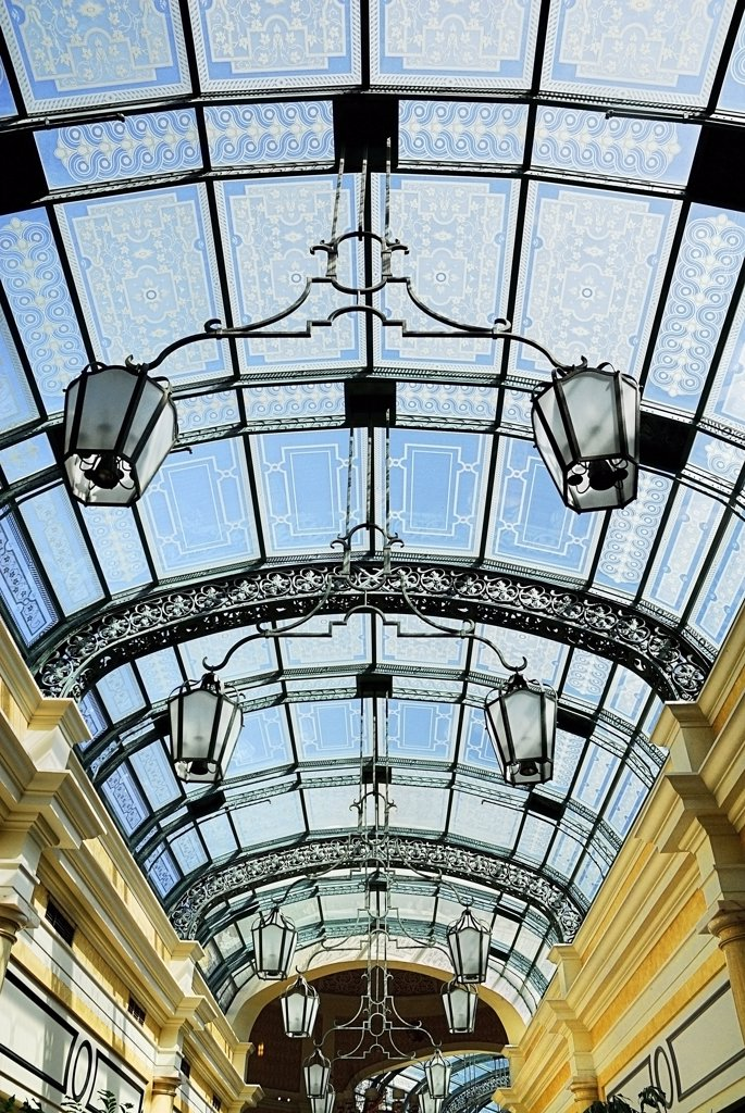 Stock Photo: 1850-45145 The Strip interior roof detail of the shopping promenade within the Bellagio hotel and casino.USA Nevada Las Vegas