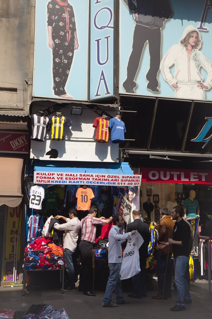 Stock Photo: 1850-45366 Eminonu Shop selling football shirts.Turkey Istanbul