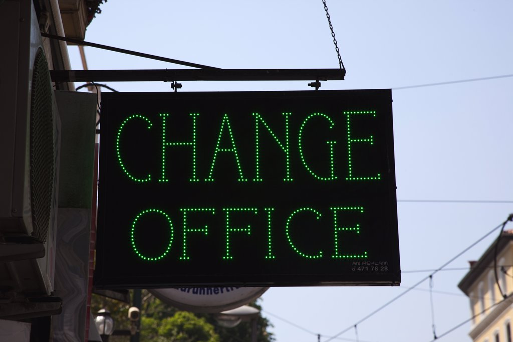 Stock Photo: 1850-45393 Sultanahmet green LED sign outside foreign exchange office.Turkey Istanbul