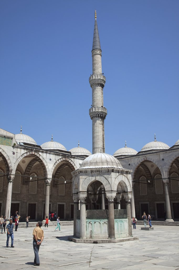 Stock Photo: 1850-45420 Sultanahmet Camii Blue Mosque courtyard with minaret.Turkey Istanbul