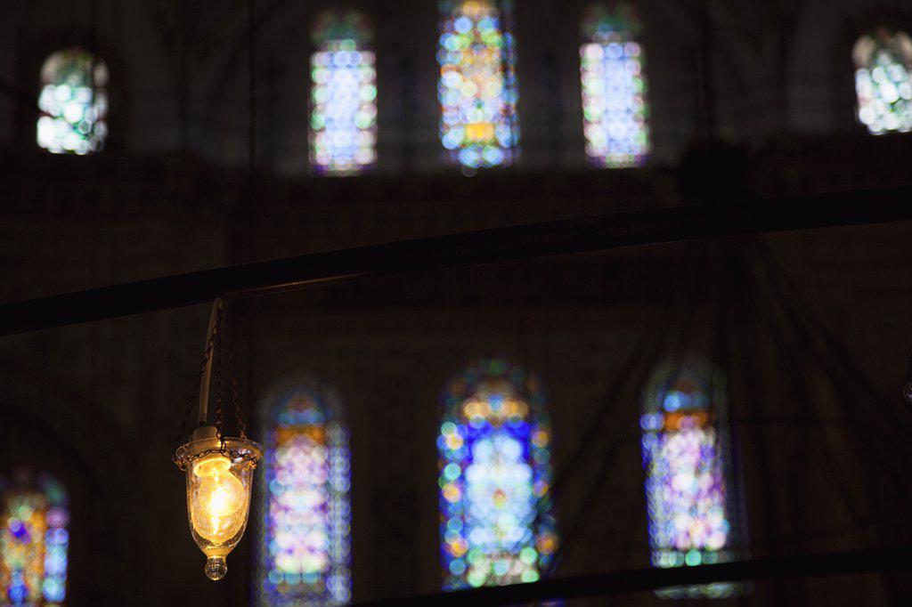 Stock Photo: 1850-45434 Sultanahmet Camii Blue Mosque interior.Turkey Istanbul