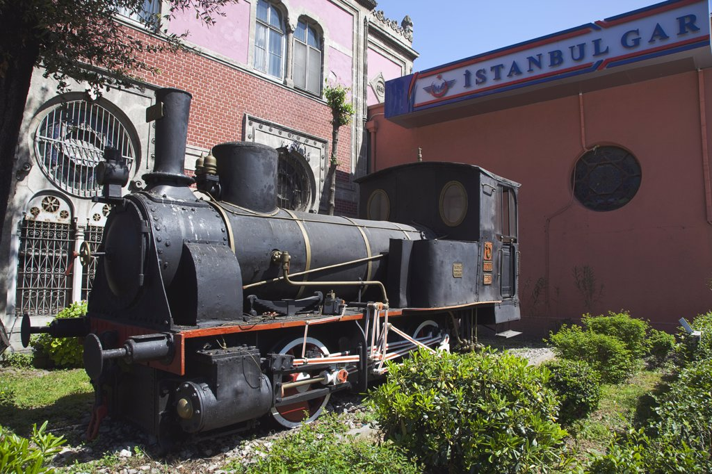 Stock Photo: 1850-45474 Sirkeci Gar railway station exterior replica steam engine.Turkey Istanbul