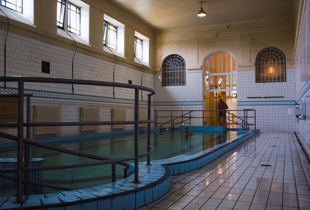 Hungary, Budapest, Pest, Indoor pool at Szechenyi thermal baths, largest in Europe. : Stock Photo