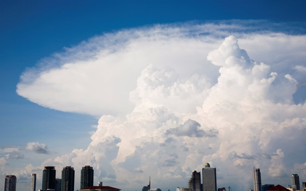 Stock Photo: 1850-45665 Thailand, Bangkok, Storm Cloud formation over central area of the city.