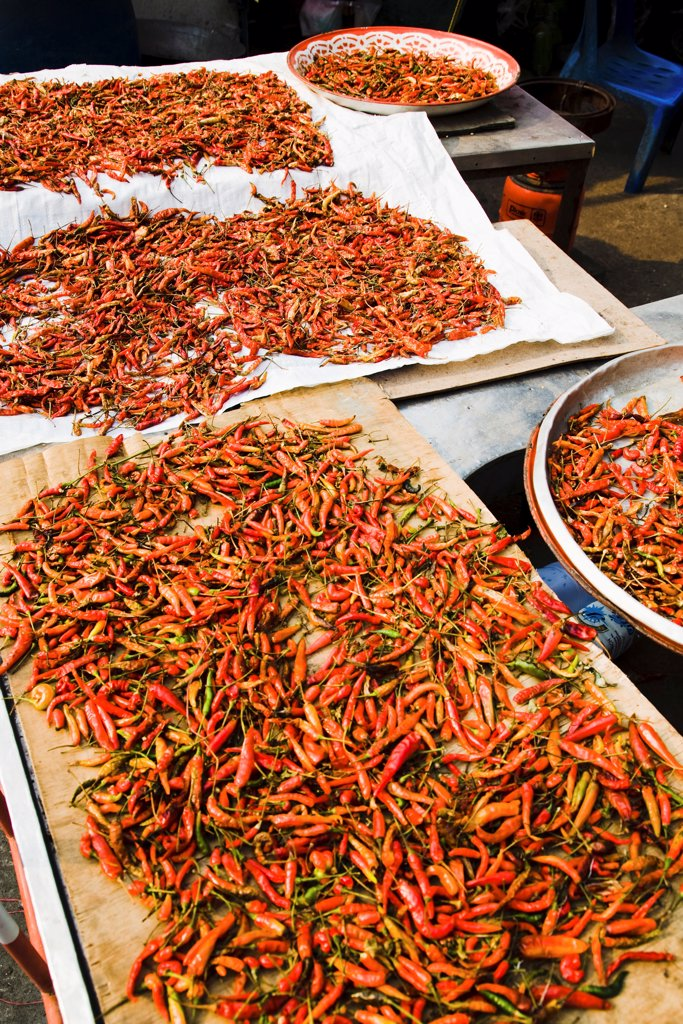 Thailand, Bangkok, Red chilis in Chinatown market. : Stock Photo