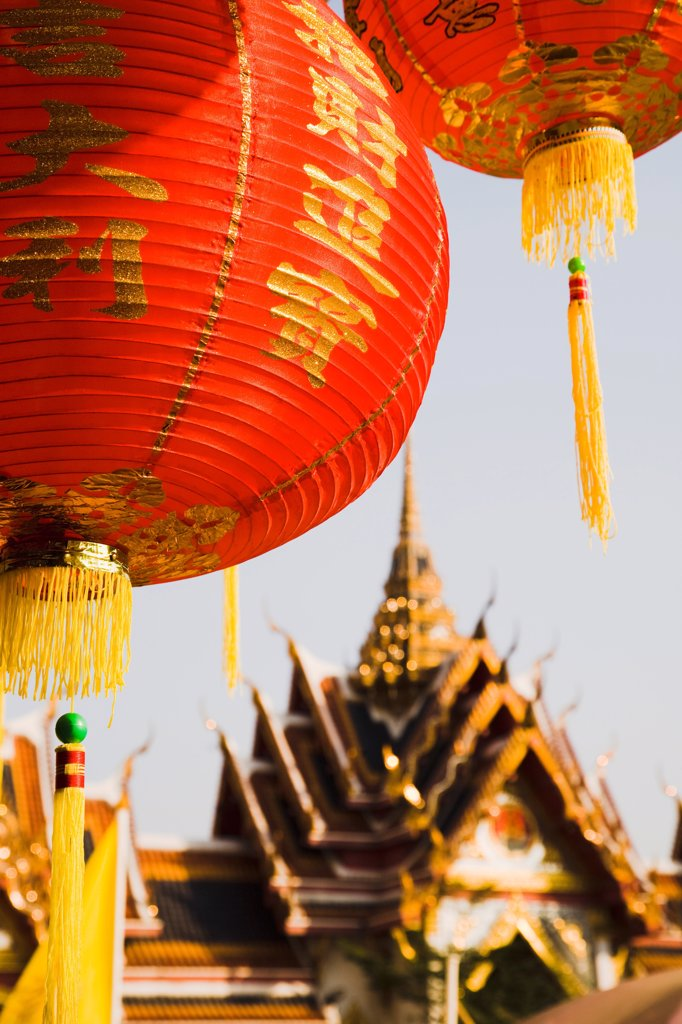 Stock Photo: 1850-45700 Thailand, Bangkok, Wat Yannawa temple roof and  red lantern at Chinese New Year.