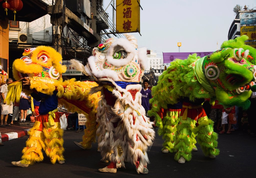 Stock Photo: 1850-45729 Thailand, Bangkok, Dragon dance Chinese New Year show.