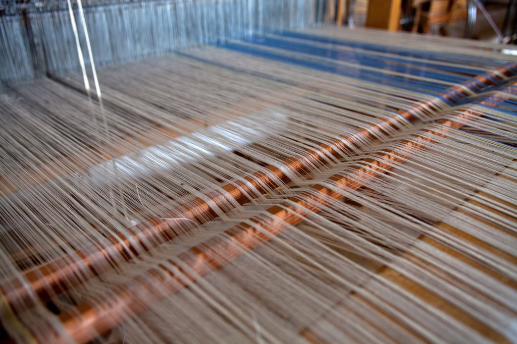 Greece, Ioannina, Zagorohoria, Close of an old traditional loom with cotton lined threads. : Stock Photo
