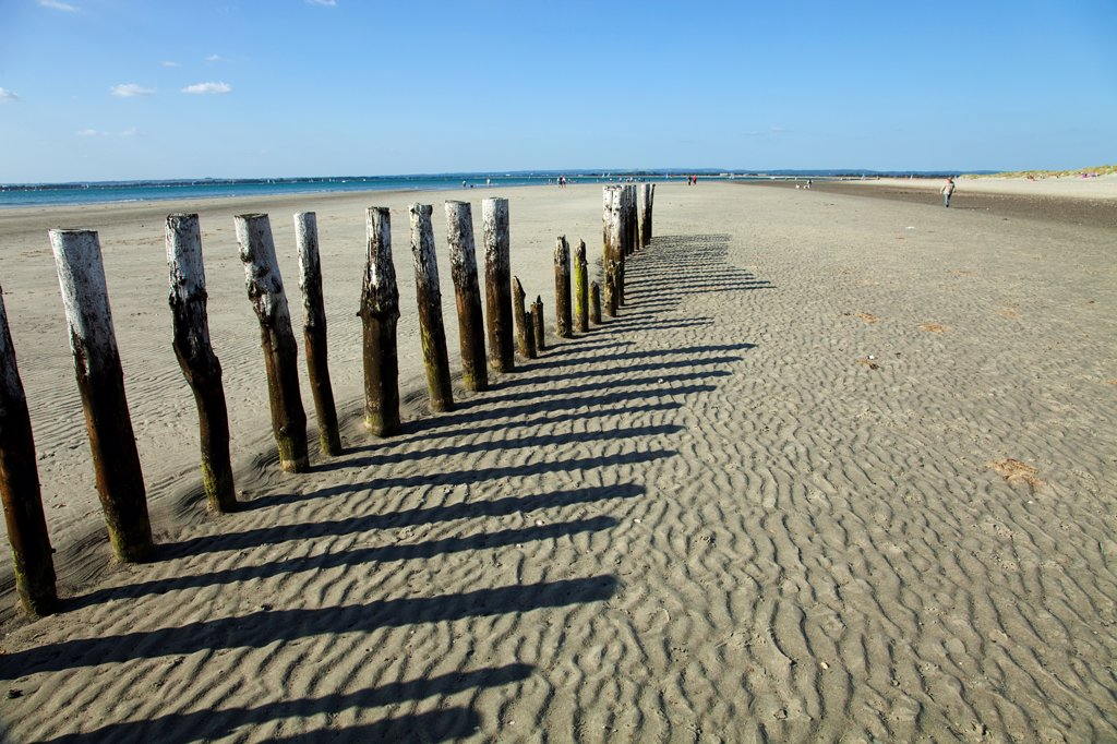 Stock Photo: 1850-45876 England, West Sussex, Chichester, West Witterings, East Head, Wooden Groynes and sandy beach at low tide.
