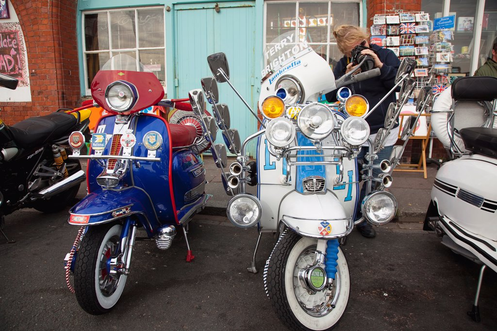 Stock Photo: 1850-45930 England, East Sussex, Brighton, Elaborately decorated Mopeds on Madeira Drive during motorbike festival.