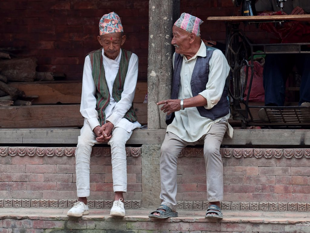 Stock Photo: 1850-45978 Nepal, Kathmandu, Two older men in national clothes are talking.
