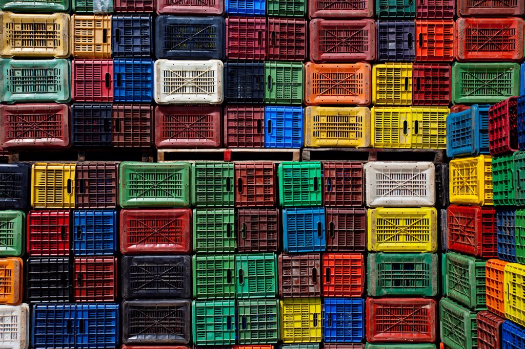 Stock Photo: 1850-45990 Greece, Makedonia, Verioa, geometrical colorful plastic crates forming a pattern.