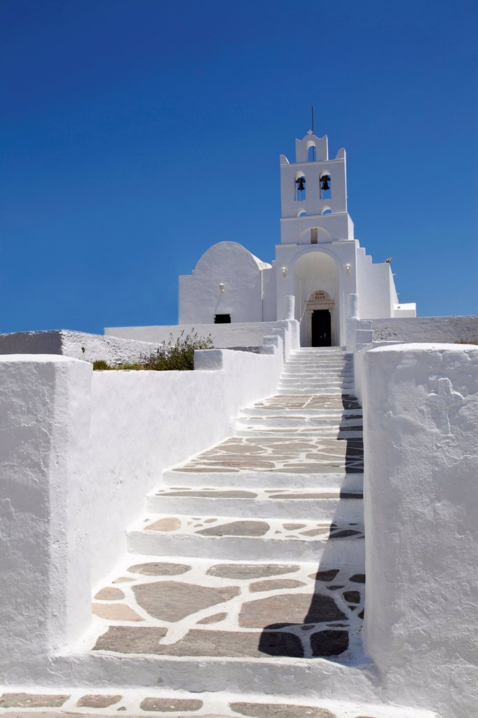 Greece, Cyclades, Islands, Sifnos Island, Church inside Chrissopigi monastery which is build on the top of a cliff nearby Platis Yalos village and it is famous for housing the miraculous icon of Panagia Chrissopigi. : Stock Photo