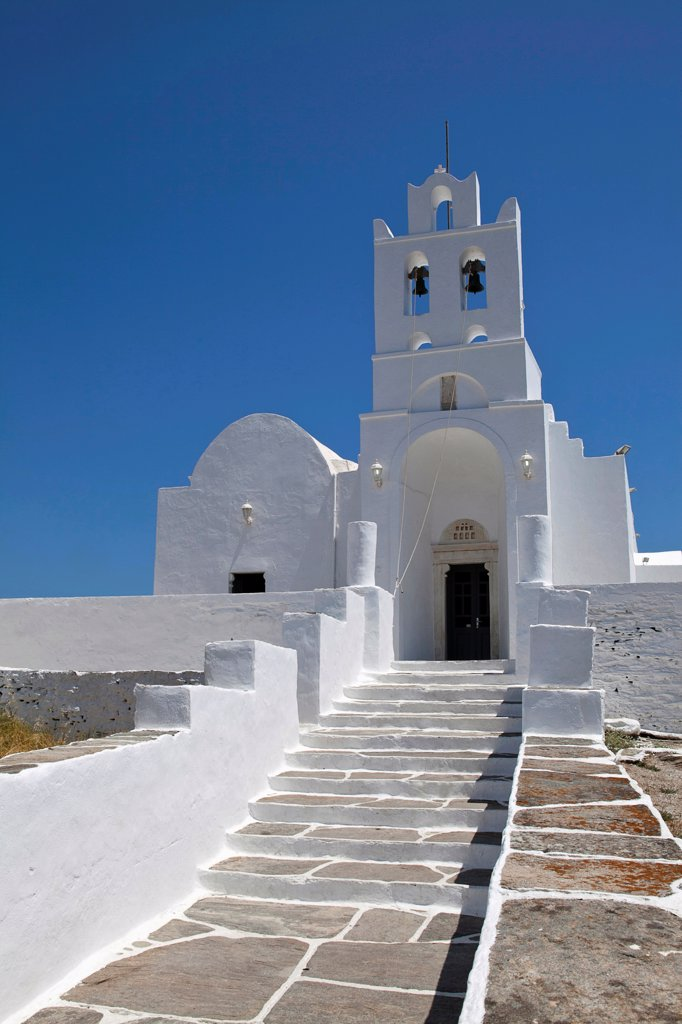Stock Photo: 1850-45993 Greece, Cyclades, Islands, Sifnos Island, Church inside Chrissopigi monastery which is build on the top of a cliff nearby Platis Yalos village and it is famous for housing the miraculous icon of Panagia Chrissopigi.