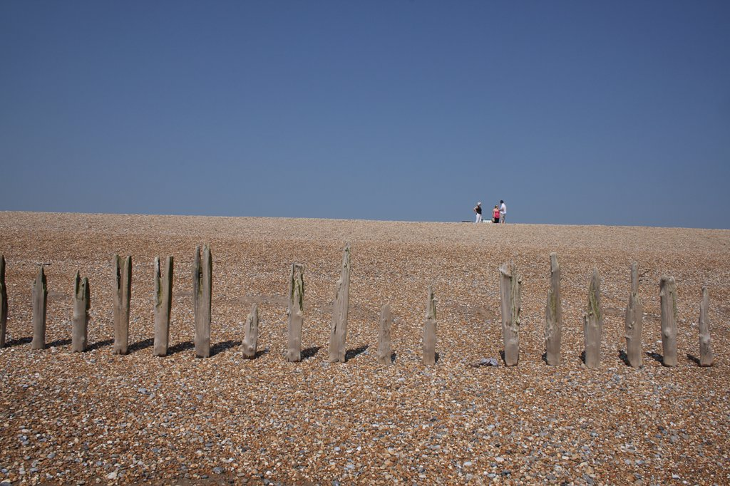 Stock Photo: 1850-46016 England, East Sussex, Winchelsea, View of rotten wooden groynes on the shingle beach and people walking in distance..