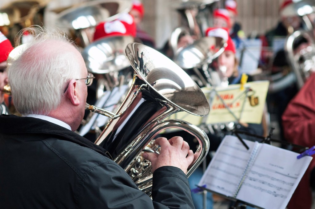 Stock Photo: 1850-46024 England, London, St Pauls Cathedral, Tuba Carols an annual Christmas charitable musical performance.