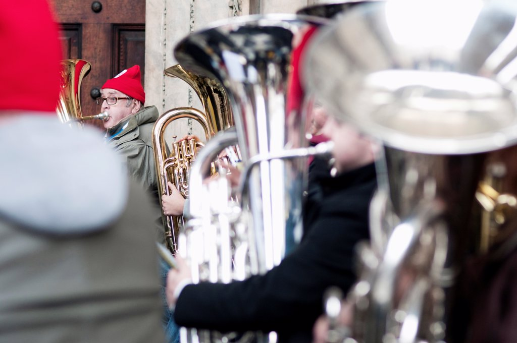 Stock Photo: 1850-46029 England, London, St Pauls Cathedral, Tuba Carols an annual Christmas charitable musical performance.