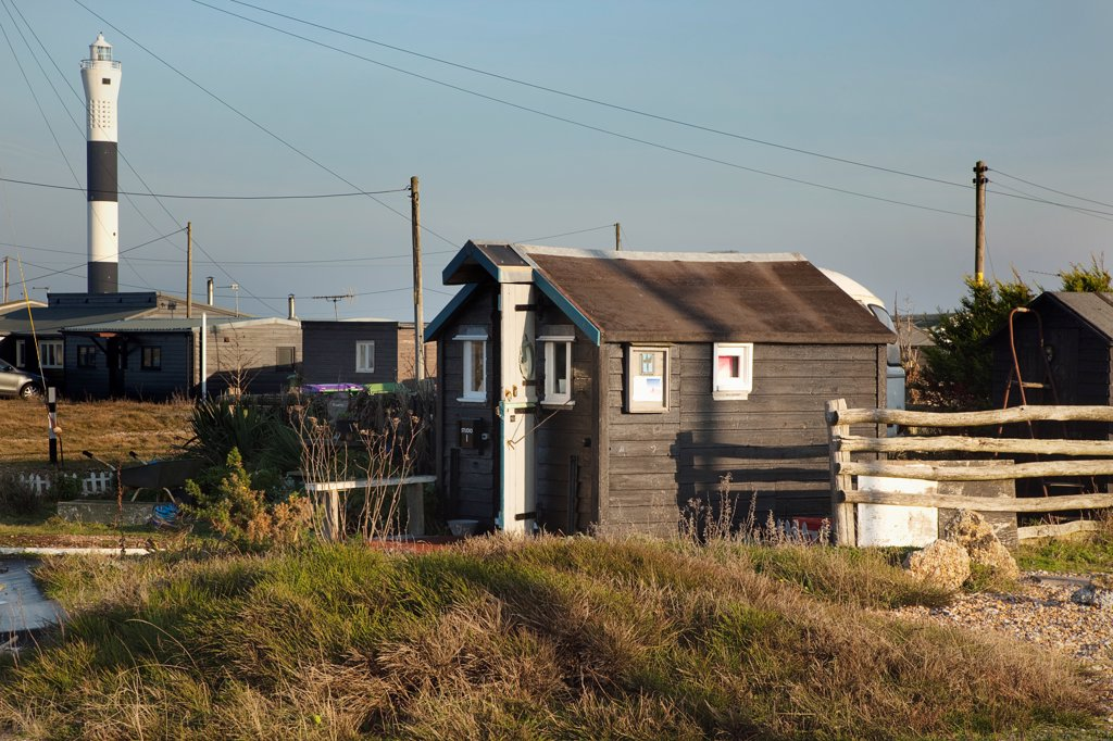 Stock Photo: 1850-46065 England, Kent, Romney Marsh, Dungeness, Beach houses used as homes and art galleries.