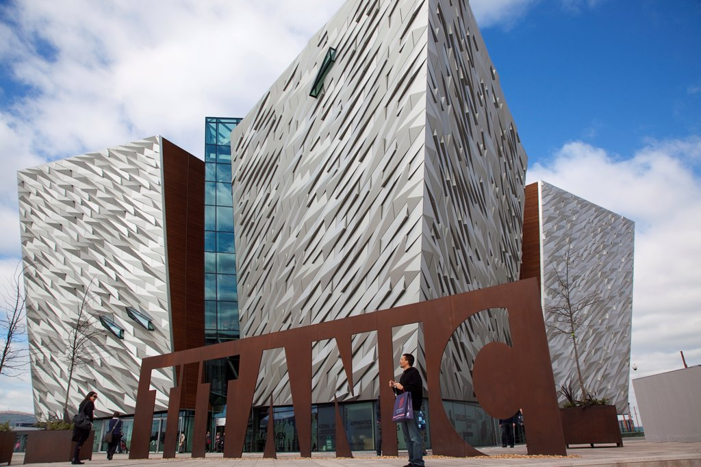 Stock Photo: 1850-46127 Ireland, North, Belfast, Titanic Quarter, Visitor centre designed by Civic Arts & Eric R Kuhne.
