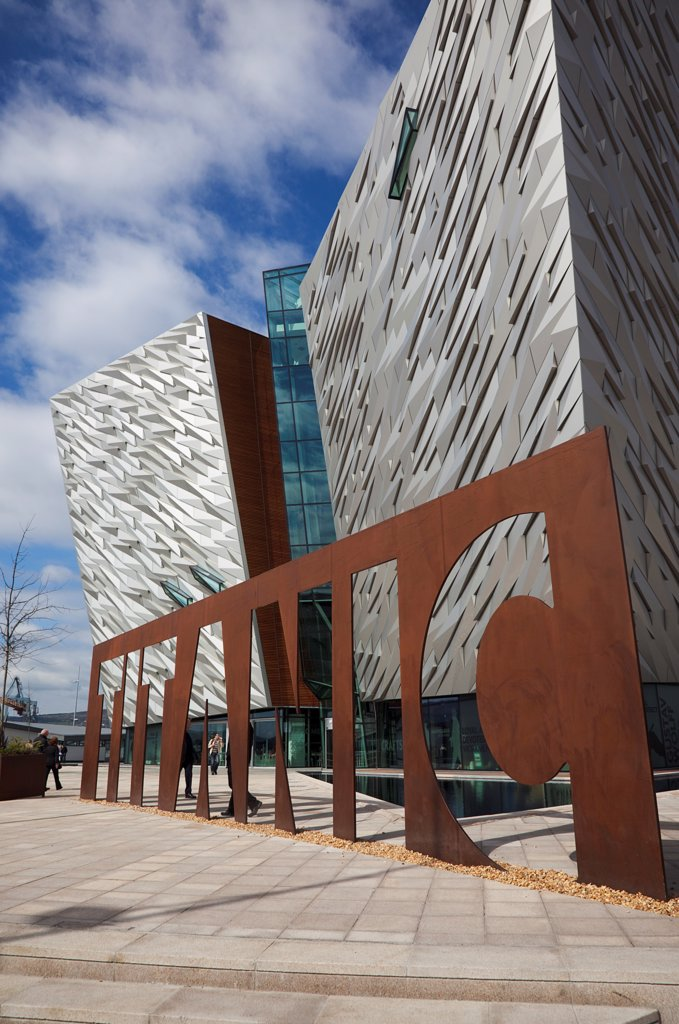 Stock Photo: 1850-46130 Ireland, North, Belfast, Titanic Quarter, Visitor centre designed by Civic Arts & Eric R Kuhne.